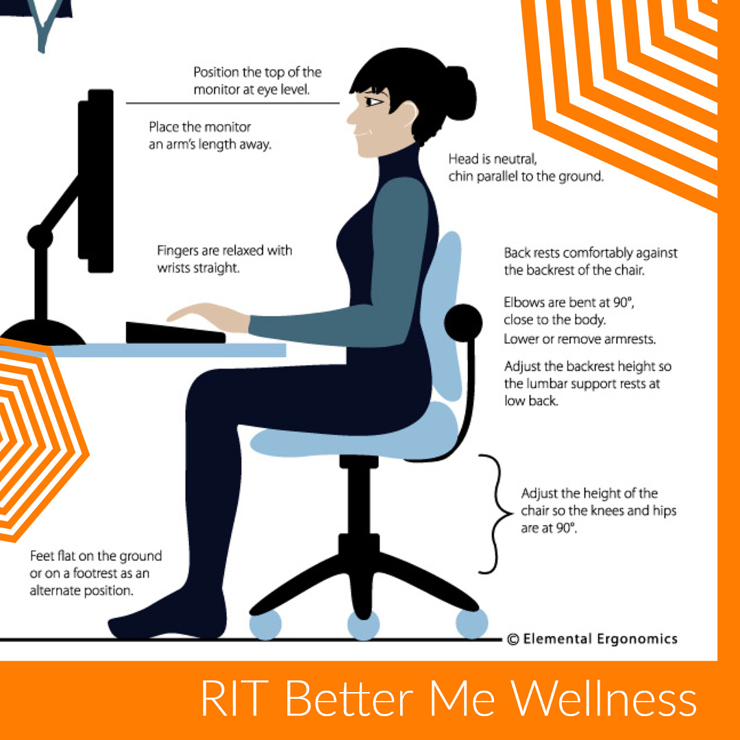 Graphic of a woman sitting properly at a desk to avoid strain.