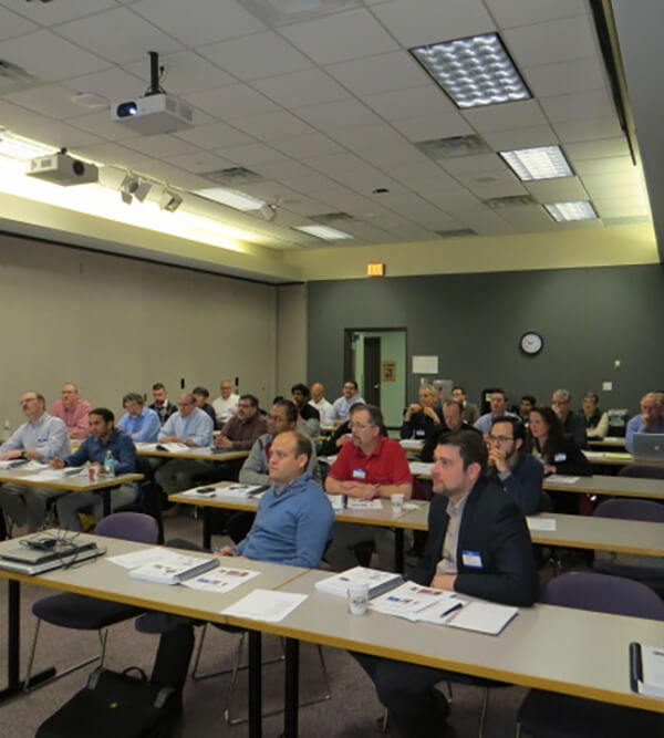 Seminar attendees listening to a presentation