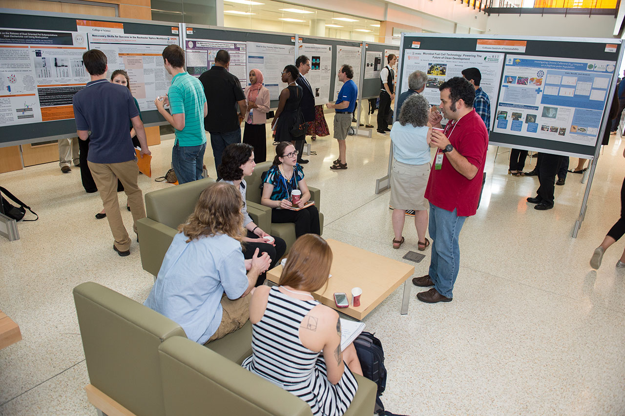 RIT students sharing their research with symposium participants at the 2016 Undergraduate Research Symposium.