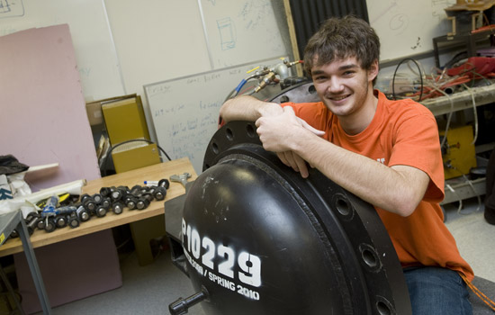 Second-year physics major Mike Every is an amateur telescope maker with an ...
