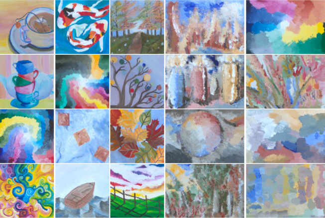 a collage of various paintings