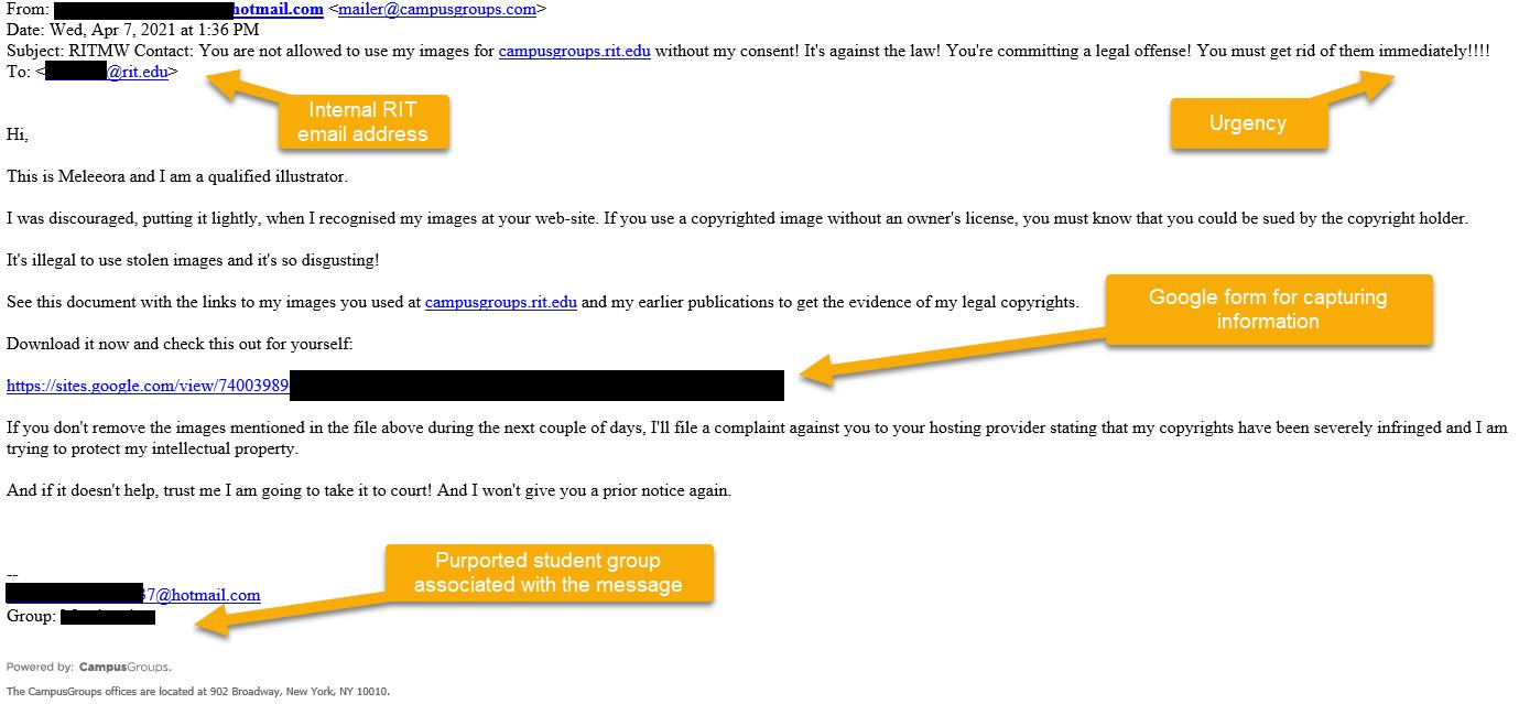 screenshot of phishing email