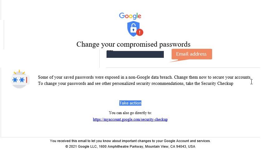 Google Change your compromised passwords notification