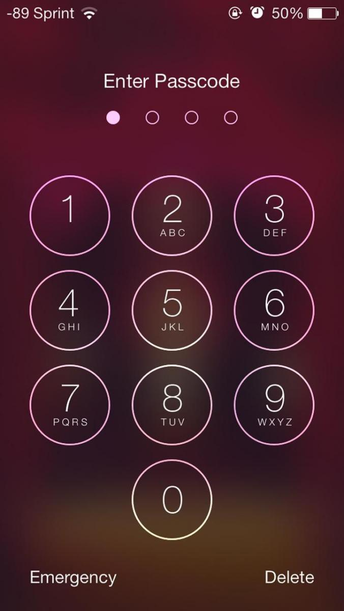 PIN number lock screen