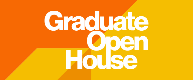 Stylized text of graduate open house