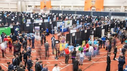 Crowd of people at the RIT Career Fair