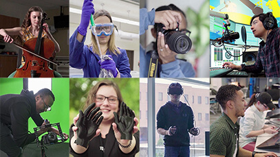 collage of 8 students featured in faces or RIT videos