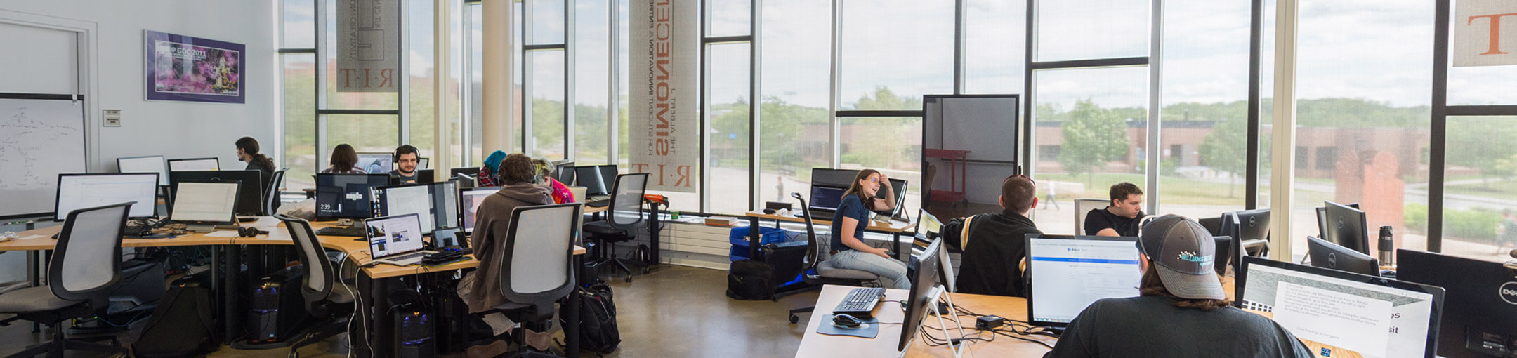 interior view of students working in the Innovation Center