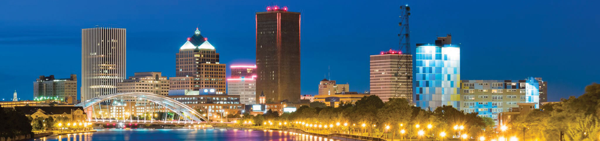 Rochester, NY skyline at dusk