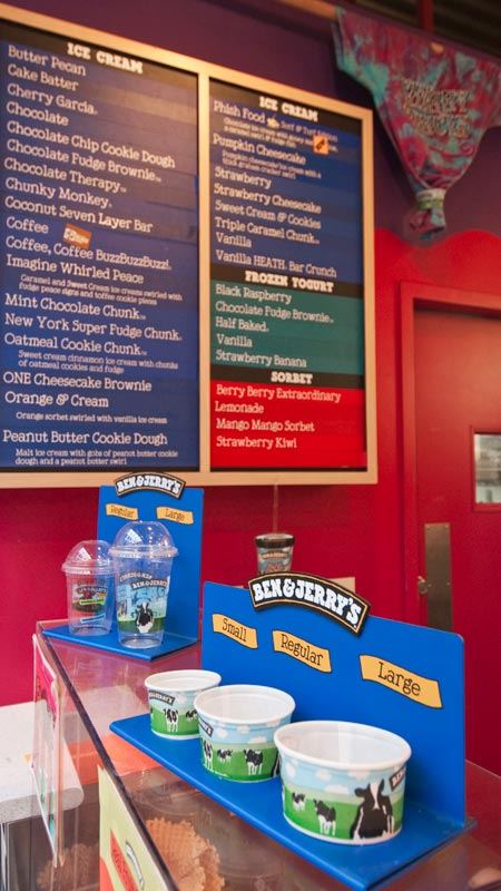 Menu board of Ben and Jerry's