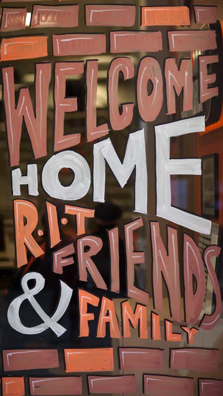 Window art welcoming RIT family and friends