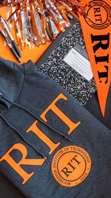 RIT bookstore apparel laid out