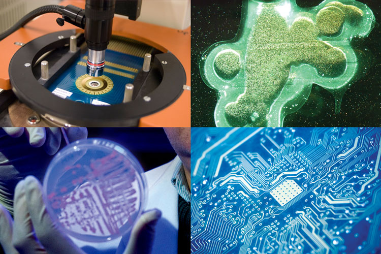 Series of four photos relating to microelectronics, fabrication, and biotechnology