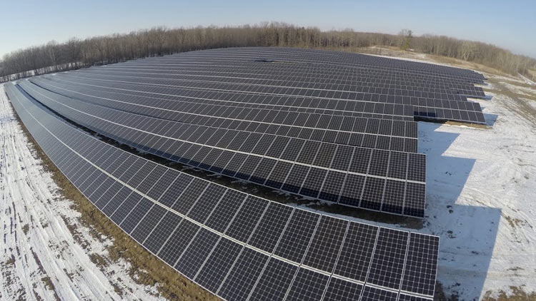 Drone view of RIT's solar array