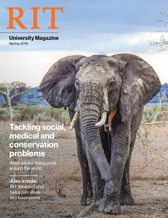 Magazine cover with photo of elephant