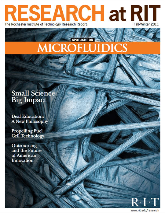 Cover for Fall / Winter 2011 issue of the Research Magazine spotlighting microfluids