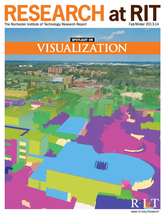 Cover for Fall / Winter 2013-14 issue of the Research Magazine spotlighting visualization