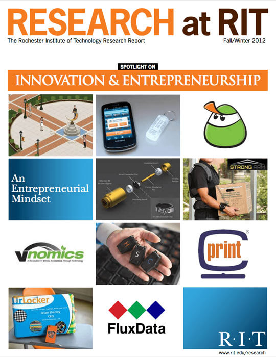 Cover for Fall / Winter 2013 issue of the Research Magazine spotlighting innovation and entrepreneurship
