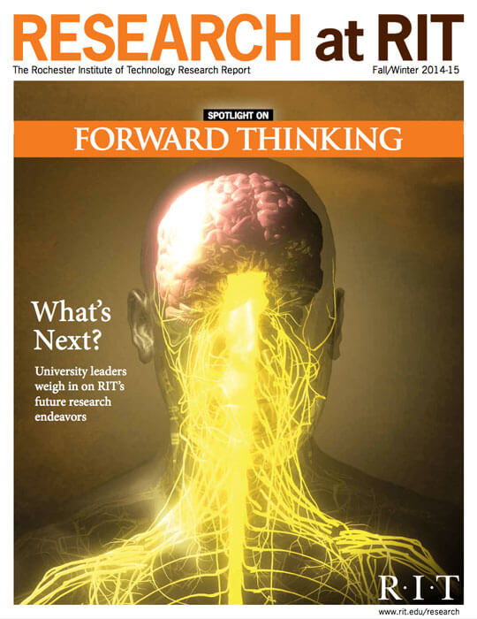 Cover for Fall / Winter 2011 issue of the Research Magazine spotlighting forward thinking