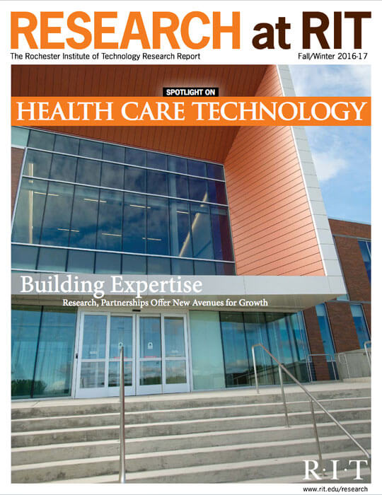 Cover for Fall / Winter 2016-17 issue of the Research Magazine spotlighting health care technology