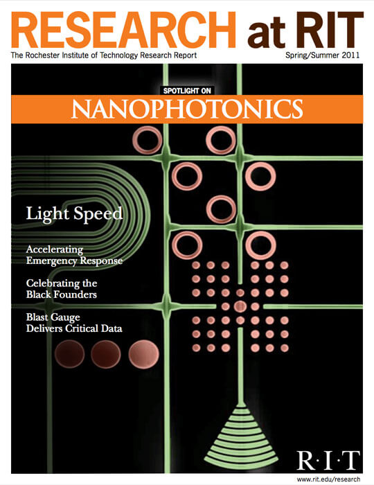 Cover for Spring / Summer 2011 research magazine spotlighting on Nano-photonics