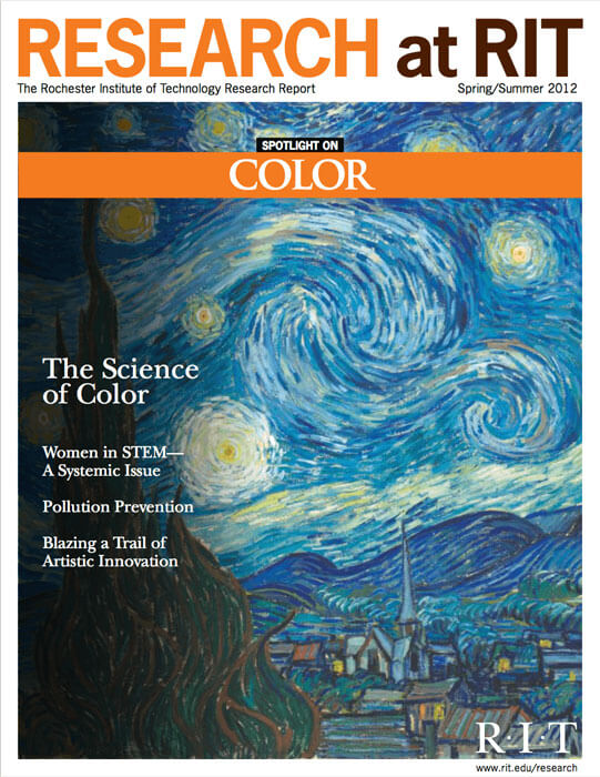 Cover for Spring / Summer 2012 research magazine spotlighting color