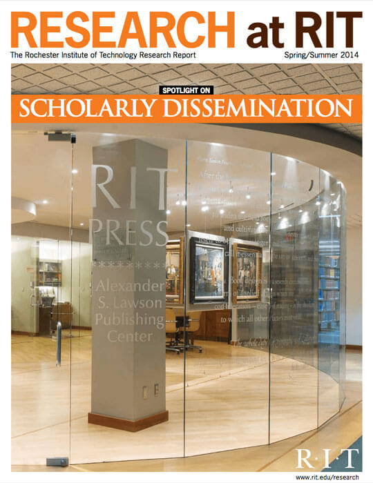 Cover for Spring / Summer 2014 research magazine spotlighting scholarly dissemination
