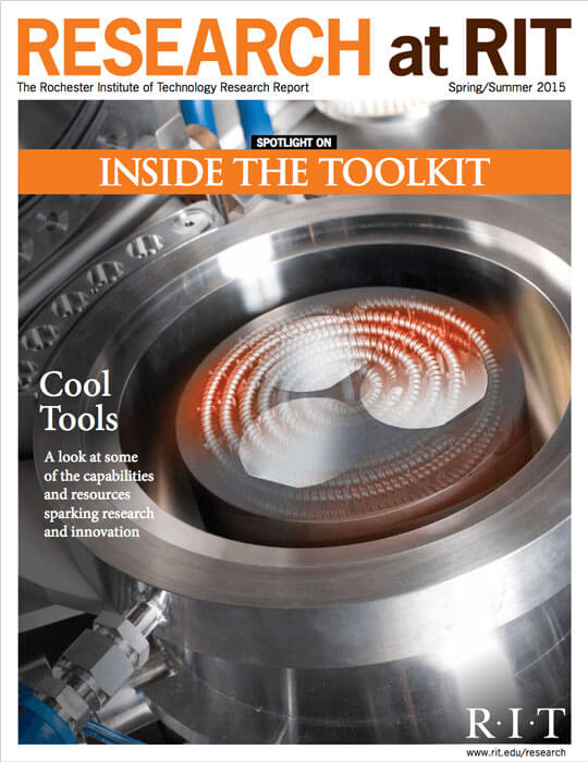 Cover for Spring / Summer 2015 research magazine spotlighting inside the toolkit