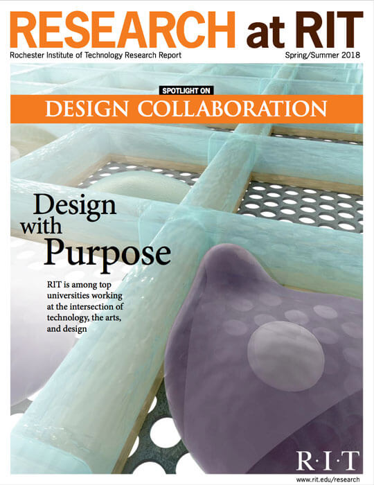 Cover for Spring / Summer 2018 research magazine spotlighting design collaboration