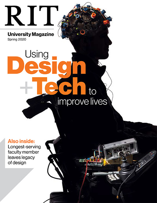 magazine cover featuring outline of person in wheelchair with sensors attached to his head.