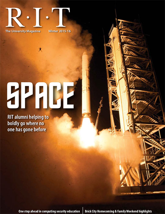 Magazine cover with image of spaceship launch