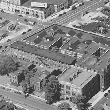 Black and white image of the initial RIT campus