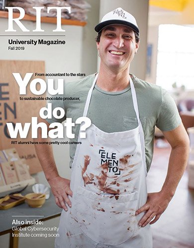 Magazine cover with man wearing apron and the words: You do what?