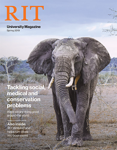 Magazine cover with image of elephant