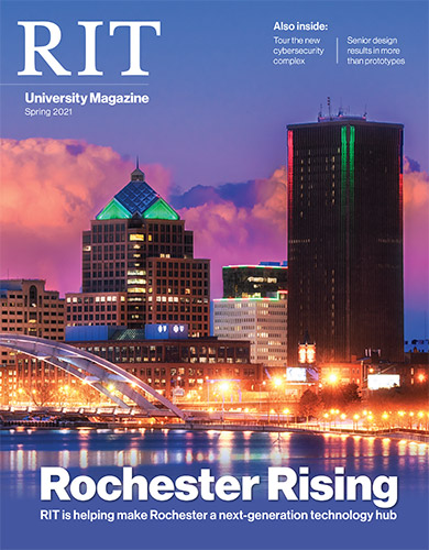 cover of spring 2021 university magazine with the Rochester skyline.
