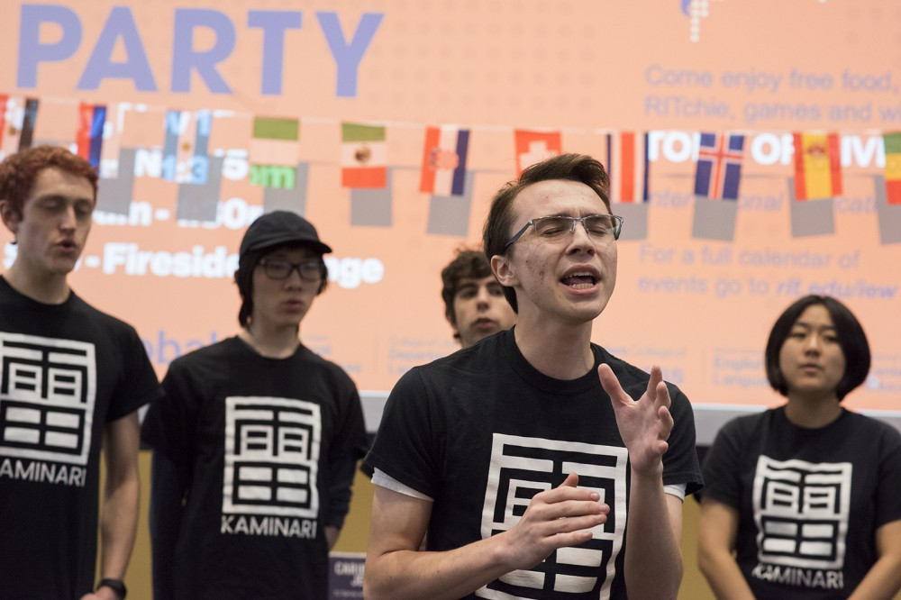 "Photo by A. Sue Weisler <br> <p>RIT has an a cappella group that sings exclusively in Japanese.&nbsp;The group's name, Kaminari, means ""thunder"" in Japanese. They performed at the kick-off party for International Education Week.</p>"