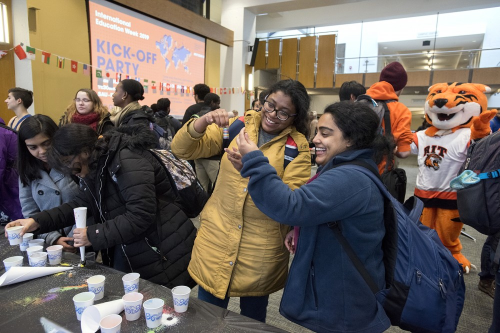 Photo by A. Sue Weisler <br> <p>The kick-off party for International Education Week included games, food, music, crafts and performances.</p>