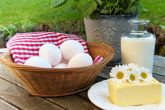 An artistic photo of eggs in a basket, milk in a glass bottle, and a large block of cheese with daisies on top of it.