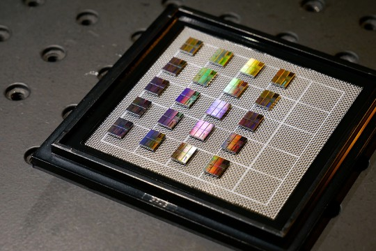 Up-close shot of photonic chips.