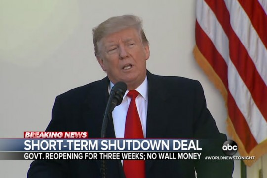 Screenshot of President Trump on ABCNEws