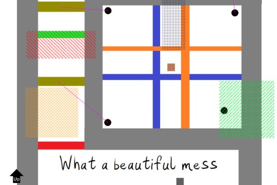 Colorful squares and rectangles arranged in a maze with text that readers: What a beautiful mess