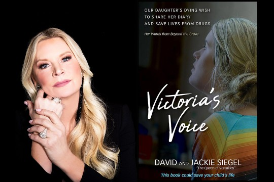 Side by side images of woman with long blonde hair and book cover that reads: Our daughter's dying wish to share her diary and save lives from drugs. Victoria's Voice.