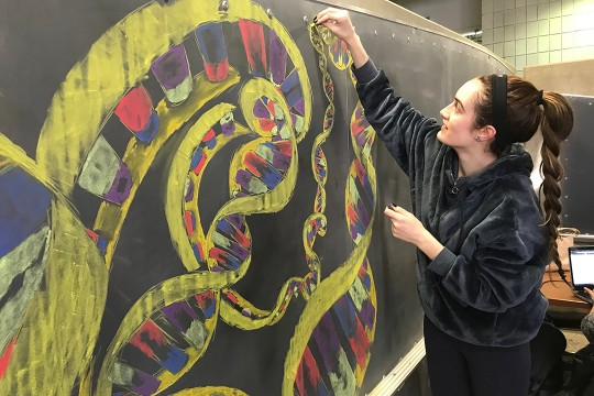 Student draws illustration of DNA on chalkboard