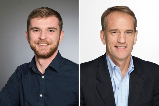 Side-by-side headshots of student and staff member.