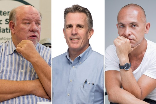 Head-and-shoulders view of three male faculty members.