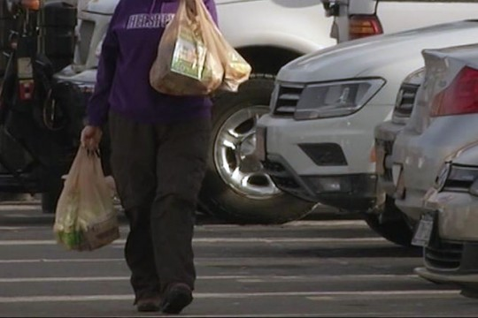 Person walks through parking lot holding plastic bags.