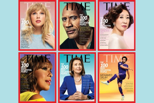 Collection of six Time magazine covers featured Taylor Swift, Dwayne Johnson, Sandra Oh, Gayle King, Nancy Pelosi and Mohamed Salah.