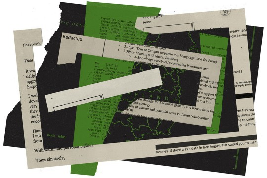 Pieces of paper with redacted information and map of Ireland.