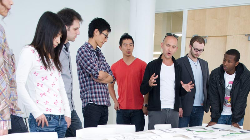 Group of people discussing a project