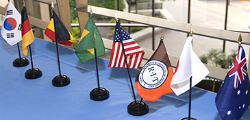Image of international flags on a table